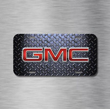 GMC Vehicle License Plate Front Auto Tag Simulated Diamond Plate Sierra