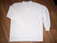X/L Mens Long Sleeved Pique White Polo Shirt 3cm slits  Measurements in listing