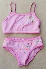 ALBETTA Girls Swimwear Bikini Top & Bottom 6-8 Years Pale Pink Sequin Flowers