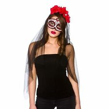 Day of The Dead Adults Halloween Masquerade Eyemask & Veil Fancy Dress Accessory