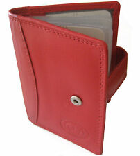 Red Soft Leather Credit Card Holder Wallet Tab Fastening for 16 Cards - 010 red