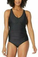 Speedo Women's Black V-Neck One Piece Racerback Swimsuit Swimwear Size 12