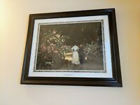 VINTAGE FRAMED Victorian Print Promanade, A Walk in the Rose Garden Wall Hanging