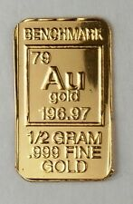 GOLD HALF GRAM ELEMENTAL BAR PURE 24 CARAT GOLD .999 FINE GOLD 1/2 GRAM l20b