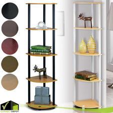 5 Tier CORNER SHELF Rack Space Saving Bookcase Wall Unit Storage Office Home