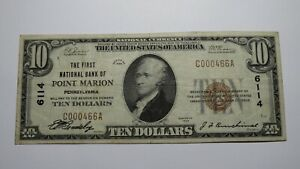 $10 1929 Point Marion Pennsylvania PA National Currency Bank Note Bill #6114 VF