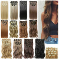 Full Head Clip in Hair Extensions 7X 16 Clips Real as Natural Long Pr. C1Y9