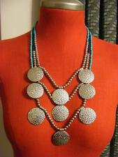 New $35 JULES Navy blue turquoise SILVER bulky fashion necklace