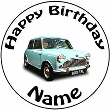 """Personalised Birthday Vintage Blue Mini Round 8"""" Easy Precut Icing Cake Topper"""
