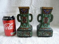 More details for superb antique chinese pair of ming / ming style cloisonne enamel vases