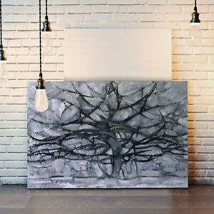 CANVAS WALL ART ARTWORK FRAMED PICTURE PRINT Piet Mondrian A Gray Tree Grey