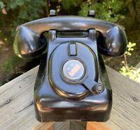 Vtg Leich Desk Telephone Black Bakelite Phone 901B Crank Ringer 1930s