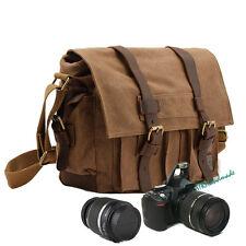 DSLR Camera Case + Shoulder Canvas Messenger College Bag for Canon Nikon Sony UK