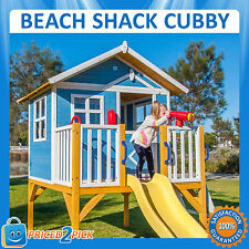 Kids Elevated Wooden Beach Shack Cubby House Fort Play House Centre with Slide