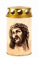 Grabkerze Jesus Grablicht Ökolicht 11,5 cm,Friedhof Grave Candle,Neu