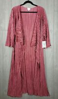 LuLaRoe Shirley Kimono Large Crinkle Pleated Dark Pink Dusty Rose  Solid New