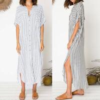 Women Summer Maxi Kaftan Sundress Button Down Loose Beach Plus Size Shirt Dress