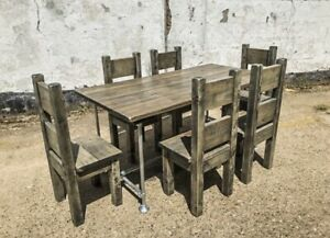 Rustic Reclaimed Scaffold Board Industrial Style Dining Table & Chair Set