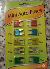Paquet de 10 mini fusibles de voiture fusible auto de 10 à 30 ampères