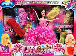PRINCESS DOLL PLAY SET WITH  DRESSES GIRLS BEST Beautifull TOY GIFT