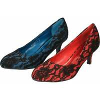 Black Floral Lace Red Blue Kitten Heel Satin Court Stiletto Party Wedding Shoes