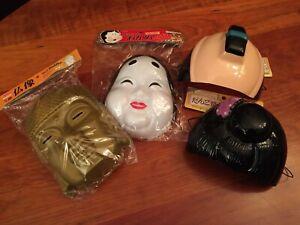 Daiso Japanese Halloween Masks  - Budda, Geisha, Samarai, Traditional Bun - NEW!
