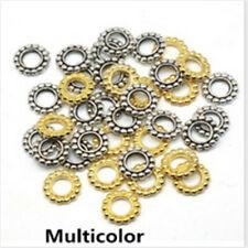 10mm 100Pcs Vintage Tibetan Silver Big Hole Spacer Beads Gold Wheel pattern Bead