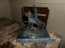 FREDERIC REMINGTON SIGNED SCULPTURE (SCALP) ON MARBLE BASE