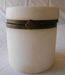 """Vintage Alabaster Stone Jar Hinged Lid 4 1/2"""" Tall"""