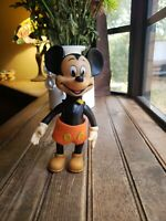 """VTG Disney Mickey Mouse Vinyl Squeaky TOY squeaker JAPAN used poseable 8 3/4"""""""