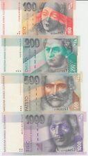 Slovakia Banknote P22/26/23/24b 100 K 1993, 200K 1995, 200K 1993,1000K 1995, UNC