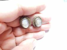 Antique BA 800 silver carved Abalone shell lady silhouette cameo clipon earrings