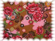Gloria popeline coton Fleurs Marron 50 cm tissé Stenzo fleurs tissu tissu