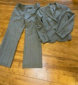 Ann TaylorWomens 2 Piece Pants SuitGray Solid SIZE 4 Pre-Owned Fair Condition