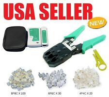 RJ45 RJ12 R11 Cat5 Cat6 LAN Network Internet Cable Tester+Crimper Crimp 3  Plugs