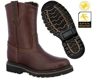 Mens Burgundy Work Boots Real Leather Slip Resistant Traction Sole Soft Toe