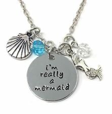 "925 Silver Plt 'Im Really A Mermaid' Charm Engraved Necklace The Little 18"" A"