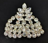 Lovely 3D Crown Vintage Retro Silver Tone Rhinestones Brooch