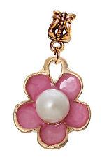 Pink Flower White Acrylic Pearl Gold Dangle Charm for European Bead Bracelets