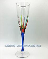 """POSITANO"" CHAMPAGNE FLUTE - BLUE STEM - HAND PAINTED VENETIAN GLASSWARE"
