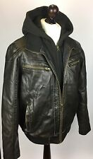 Men's Guess Black Faux Leather Bomber hooded Jacket L Large Removable Hood Warm