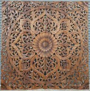 76 Inch Brown Large Tuscan Carved Wood Wall Art Panel California King Headboard