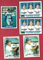 STEVE SAX 5 CARD LOT ROOKIE 1982 TOPPS FLEER MLB BASEBALL LOS ANGELES DODGERS