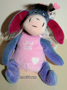 "8"" Eeyore Plush LOVE BUG Hearts Wings Antenna Disney Store 2000 for Chrismas NWT"