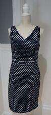 The Limited Women's Black Blue Polka Dot Sleeveless V Neck Empire Dress Size 8