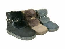 Ladies Slipper Boots Suede Fur Lined Winter Warm Thermal Ankle Boots Shoes 3-8Uk
