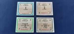 ITALY 1943 WW2 ALLIED MILITARY CURRENCY 1 - 10 LIRE 4 NOTES HIGHER GRADE CRISP