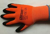 12 Pair Diesel Orange Safety Gloves Latex Coated Grip Cut Resistant