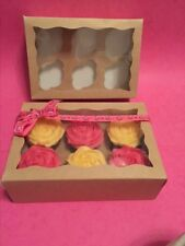 Kraft Cupcake Boxes 6 Cup  with Window x10 Boxes great for Crafts / Hampers