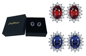 Craftuneed classic princess zircon oval stone stud earrings with 925 silver pins